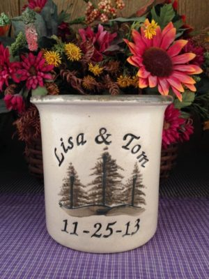 Personalized Handmade Pottery Quart Crock