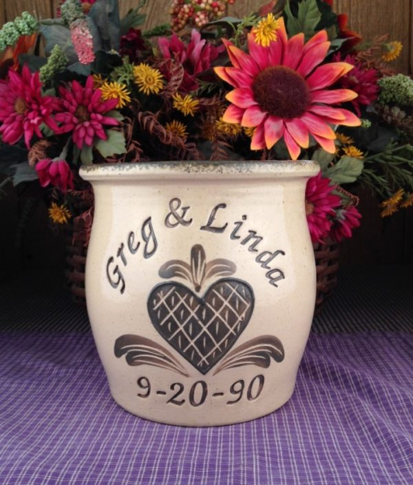 Personalized Handmade Pottery Quart Belly Crock