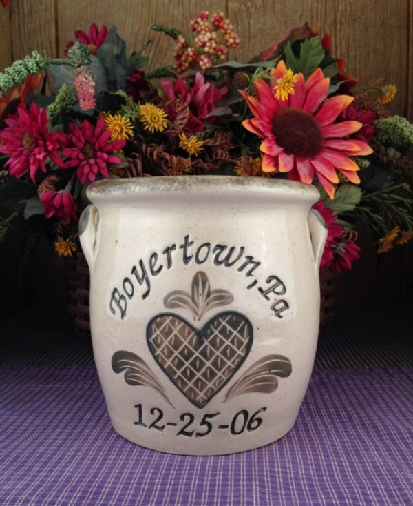 Personalized Handmade Pottery Quart Belly Crock with Handles