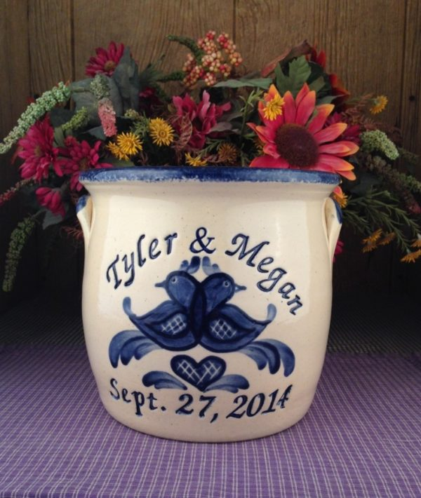Personalized Handmade Pottery Half-Gallon Stoneware Belly Crock