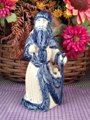 One of a kind Custom Handmade Pottery Antique Santa with Walking Stick