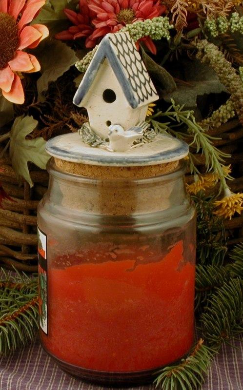 jar candle topper birdhouse
