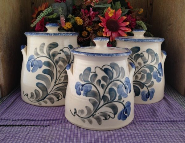 One of a kind Custom Handmade Pottery 3-Piece Canister Set with Handles