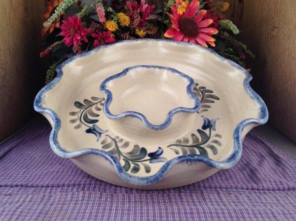 One of a kind Custom Handmade Pottery Chip-n-Dip
