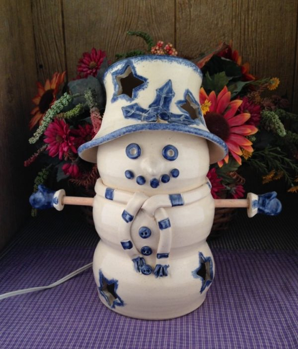 Custom Handmade Pottery Lighted Snowman