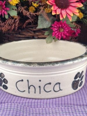 One of a kind Custom Handmade Pottery Large Personalized Pet Dish