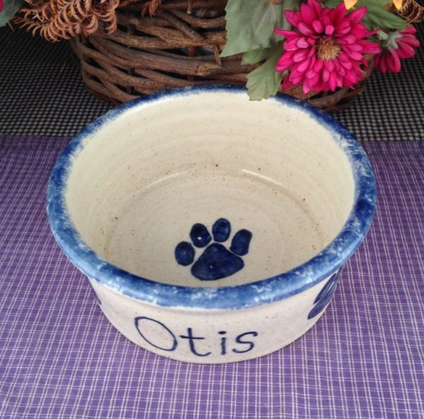 One of a kind Custom Handmade Pottery Medium Personalized Pet Dish