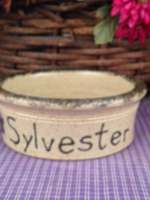 One of a kind Custom Handmade Pottery Small Personalized Pet Dish