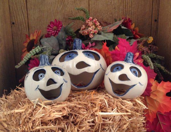 Handmade Pottery Jack-O-Lanturns